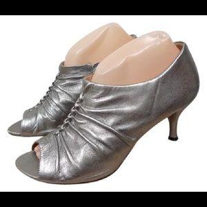 Corso Como Metallic Leather Open Toe Heels Size 10